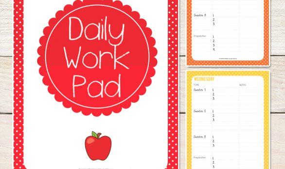 Daily Work Pad Editable