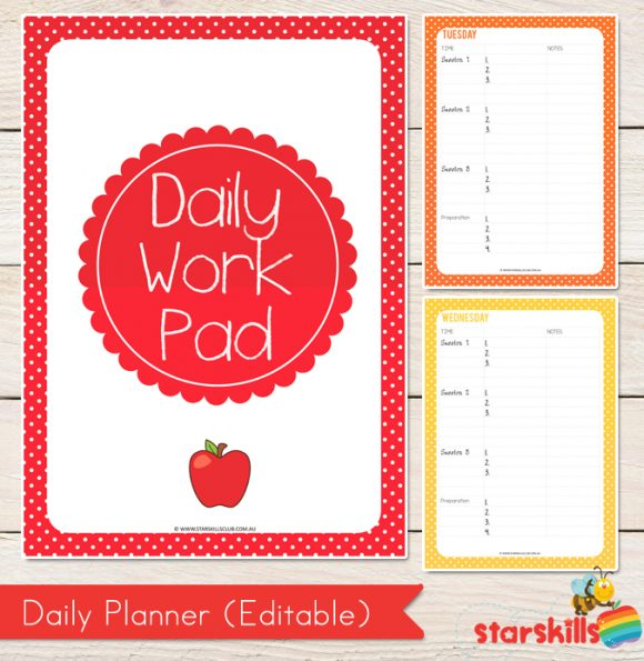 Daily Work Pad Editable